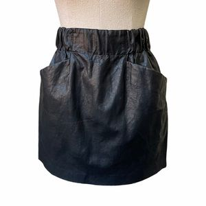 Zara Faux Black Leather Mini Skirt